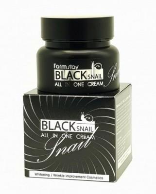 Крем с муцином черной улитки FARMSTAY Black snail all-in-one cream 100 мл: фото