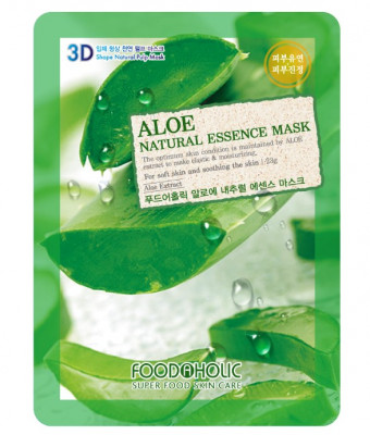 Тканевая 3D маска с экстрактом алоэ FoodaHolic Aloe Natural Essence Mask 23мл: фото