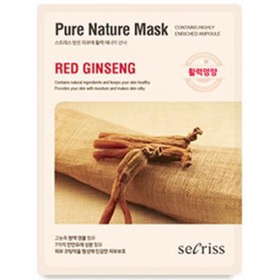 Маска для лица тканевая Anskin Secriss Pure Nature Mask Pack- Red ginseng 25мл: фото
