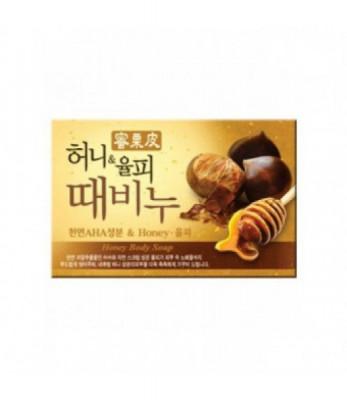 Мыло-скраб мед и каштан Mukunghwa Honey & Chestnut Scrub Soap 100гр: фото
