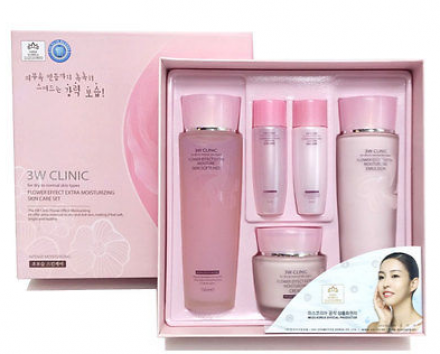 Набор для лица УВЛАЖНЕНИЕ 3W CLINIC Flower Effect Extra Moisturizing 3 Kit Set: фото