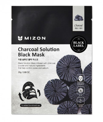 Тканевая маска c древесным углем Charcoal Solution Black Mask: фото