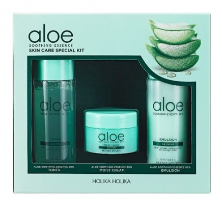 Набор миниатюр Holika Holika Aloe Soothing Essence Skincare Special Kit 50мл+50мл+20мл: фото
